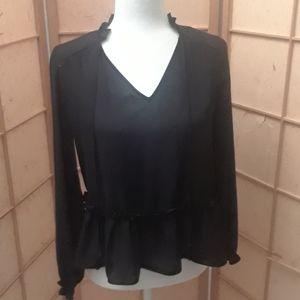 Masion Jules black long sleeve blouse size xs